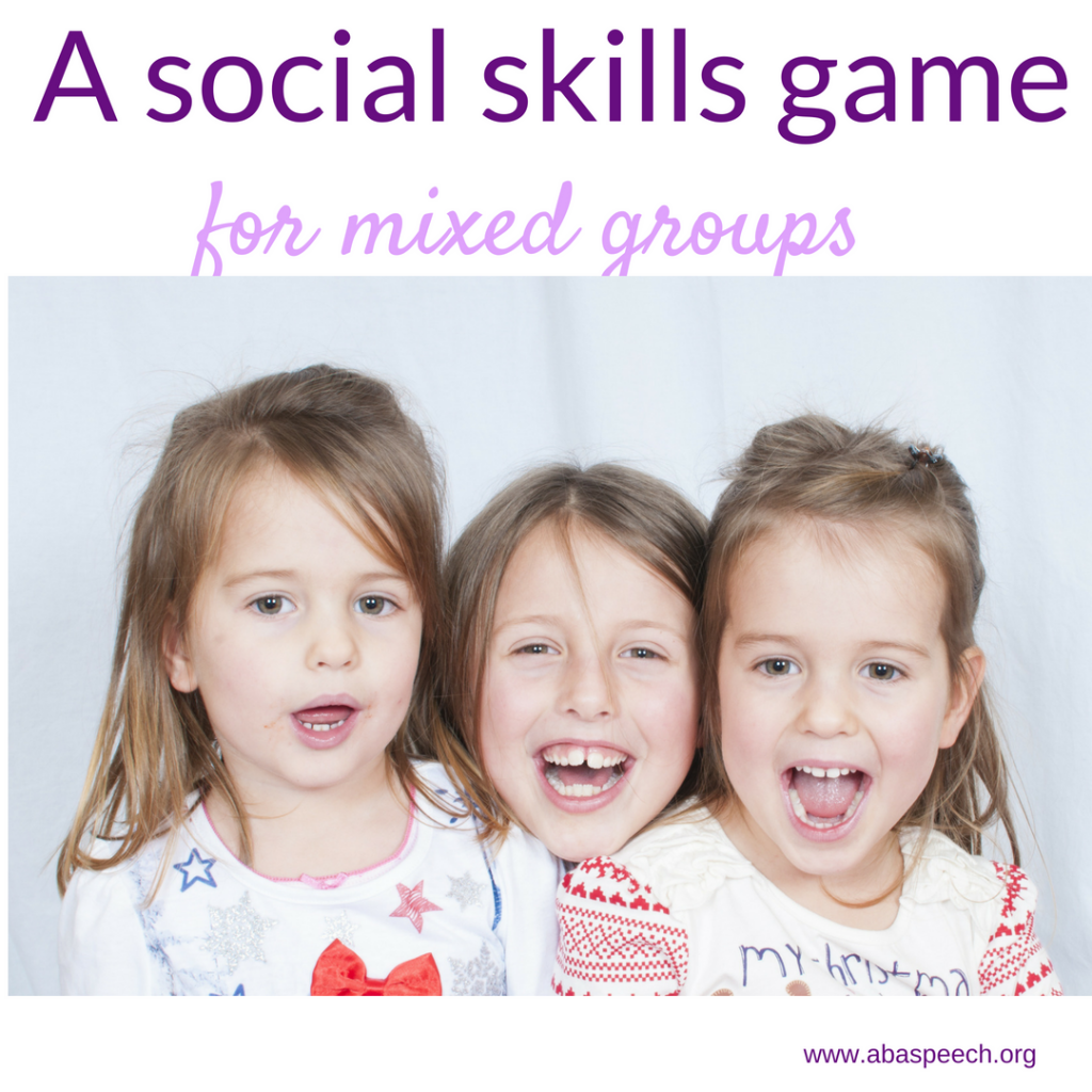 A social skills game to play with mixed groups. If you are anything like me you have students who are working on a variety of social skills. This game is free and fun. Post to your speech therapy board today! #socialskills