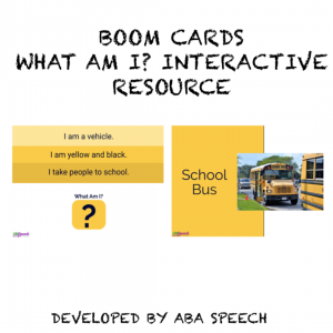 Boom card for distance learning. Picture of a bus